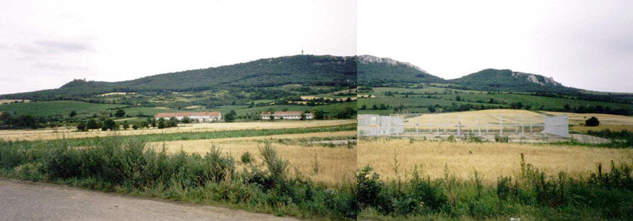 View of the Three Sisters from almost inside the village of Dolni Vestonice, from the north looking south.