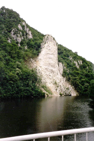 Pillar of rock on side of gorge.