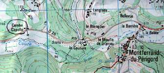 Combe-Capelle topographical map