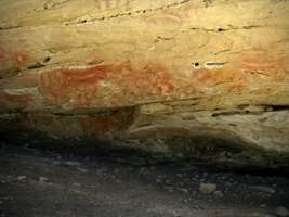 Cathedral Cave stencils boomerang hands red nets vandals