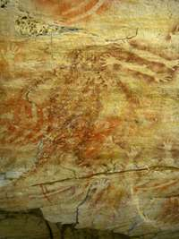 Cathedral Cave spirit figure ochre