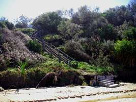 stairs leading down to Back Beach