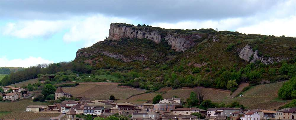 Limestone cliffs near Solutré, at the foot of which is the celebrated site of Cro-du-Charnier