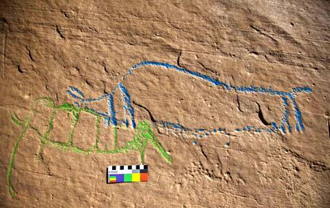 Columbian Mammoth and Bison rock engravings