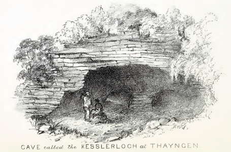 Drawing of the entrance to the cave