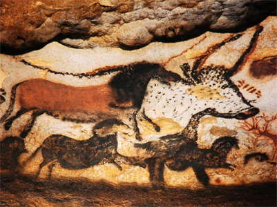 Lascaux Horses and the head of a bull