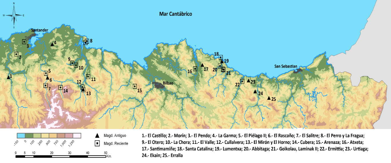 Map Of North Spain Coast.Caves And Rock Shelters On The North Coast Of Spain