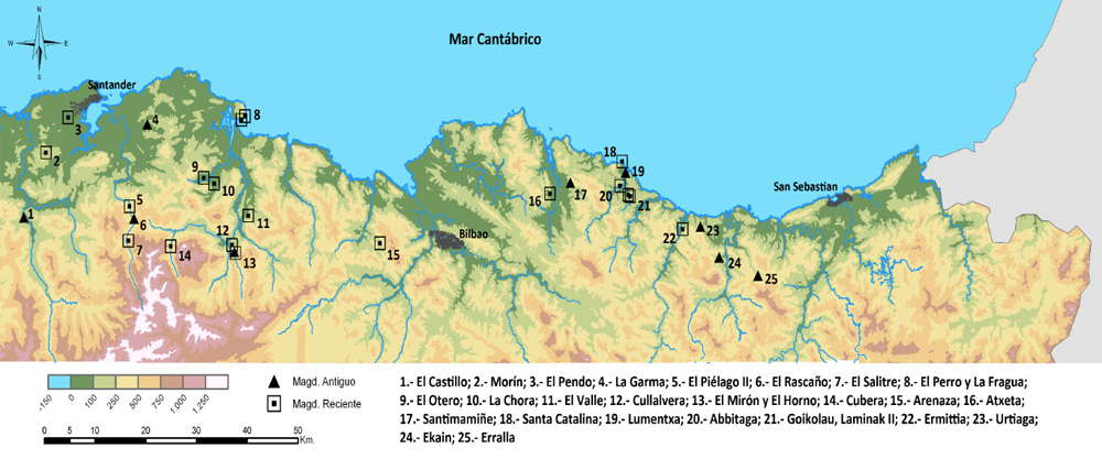 map of archeological sites in Cantabria