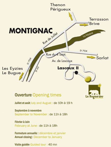 Le Regourdou map and opening times