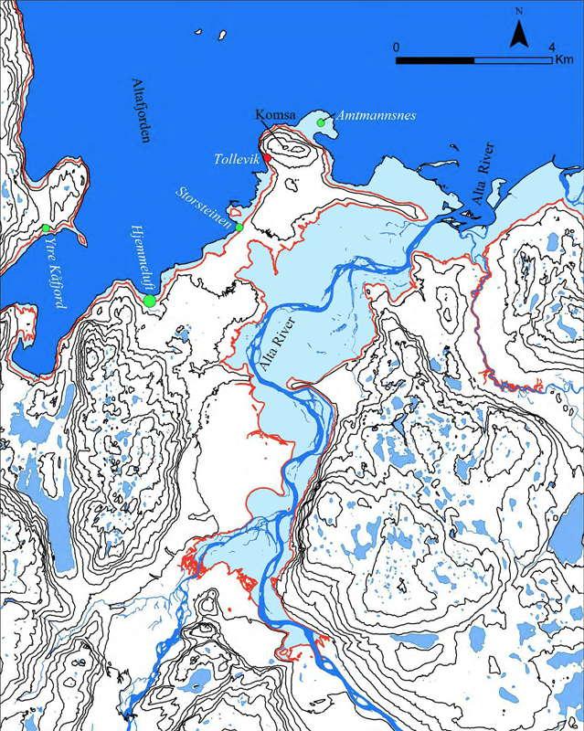 Norwegian Rock Art Alta Fjord - Norway elevation map