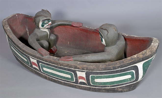 Boat shape with human figures
