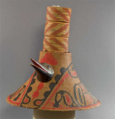 Hat decorated with a bird