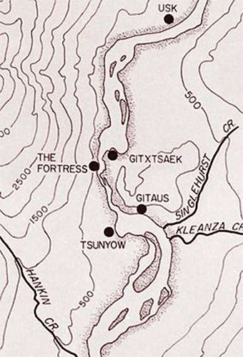 Map showing Kitselas Fortress