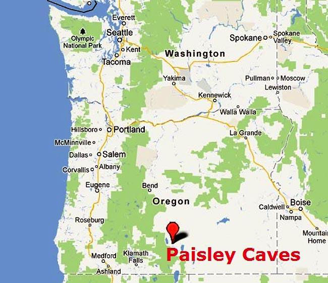 Map Of America Oregon.The Paisley Caves Complex When Did People First Reach North America