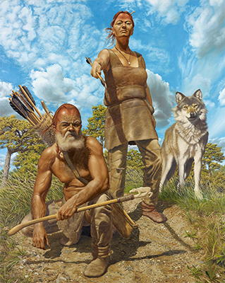 man woman dog spearthrower