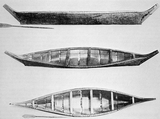 Model of an extinct form of birch-bark canoe