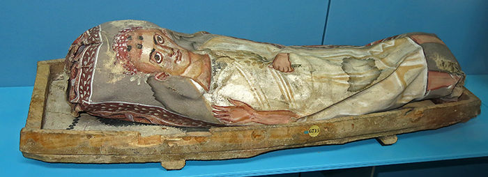 painted mummy in shroud