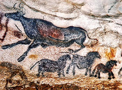 Lascaux aurochs and horses
