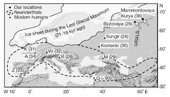 europe neandertal map