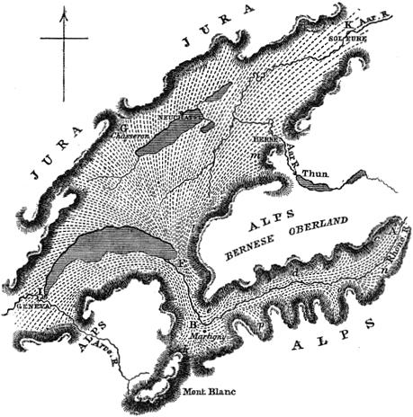 Map of The Rhone Glacier and the distribution of the erratic blocks and drift associated with it.